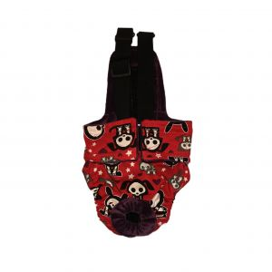 Skeleton Figures on Red Escape-Proof Washable Dog Diaper Overall