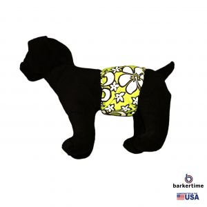 White Hawaiian Hibiscus on Lime Green Washable Dog Belly Band Male Wrap