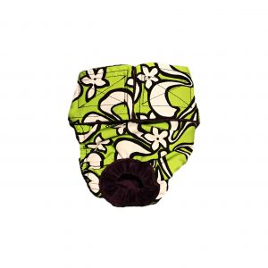 White Hawaiian Hibiscus Flower on Lime Green Washable Dog Diaper