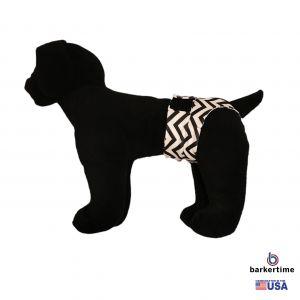 White Chevron on Black Washable Dog Diaper Pull-up