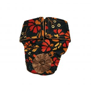 Red Flowers on Green Washable Dog Diaper