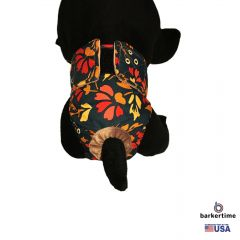 Red Flowers on Green Washable Cat Diaper