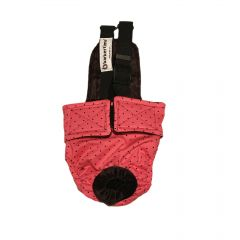 Black Polka Dot on Pink Escape-Proof Washable Dog Diaper Overall
