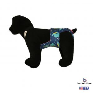 Blue Whale Escape-Proof Washable Dog Diaper Overall