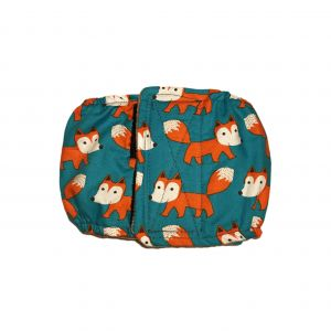 Orange Fox on Teal Washable Dog Belly Band Male Wrap