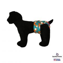 Orange Fox on Teal Washable Dog Diaper