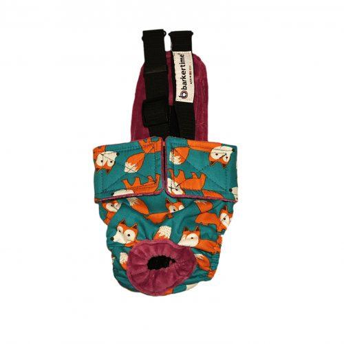 orange fox on teal diaper overall