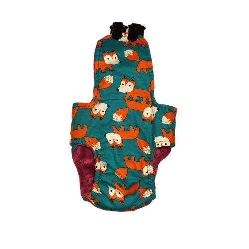 orange fox on teal diaper overall – back
