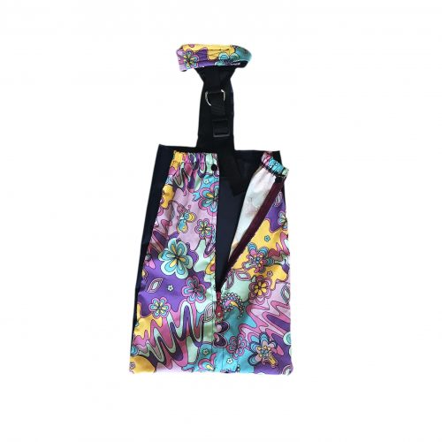 mystic flower on purple drag bag - open