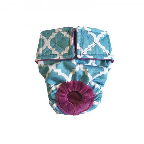 white quatrefoil on baby blue diaper