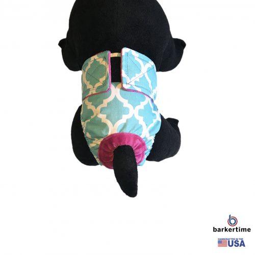 white quatrefoil on baby blue diaper – model 2