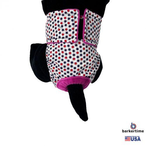 red white and blue polka dot diaper - model 2