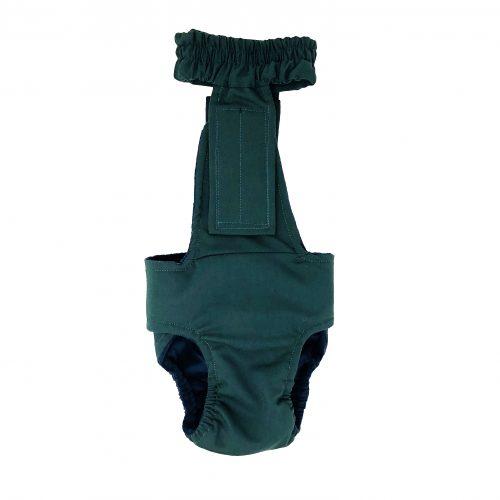 hunter green diaper overall - back