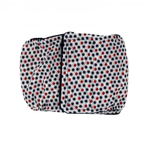 red white and blue polka dot belly band