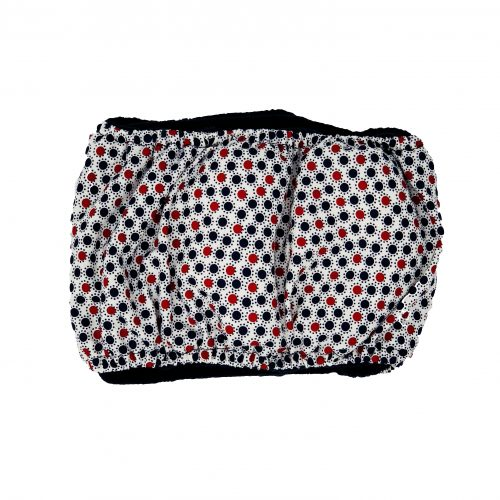 red white and blue polka dot belly band - back