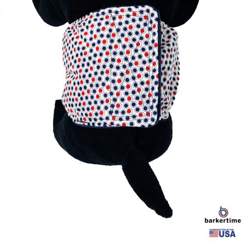 red white and blue polka dot belly band - model 2