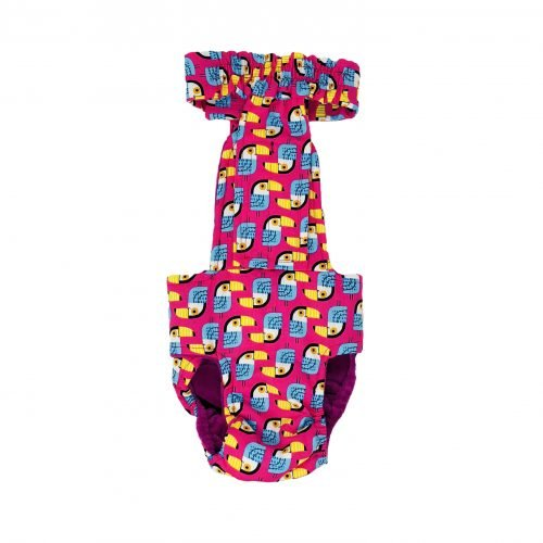 toucan on pink diaper overall - new - back