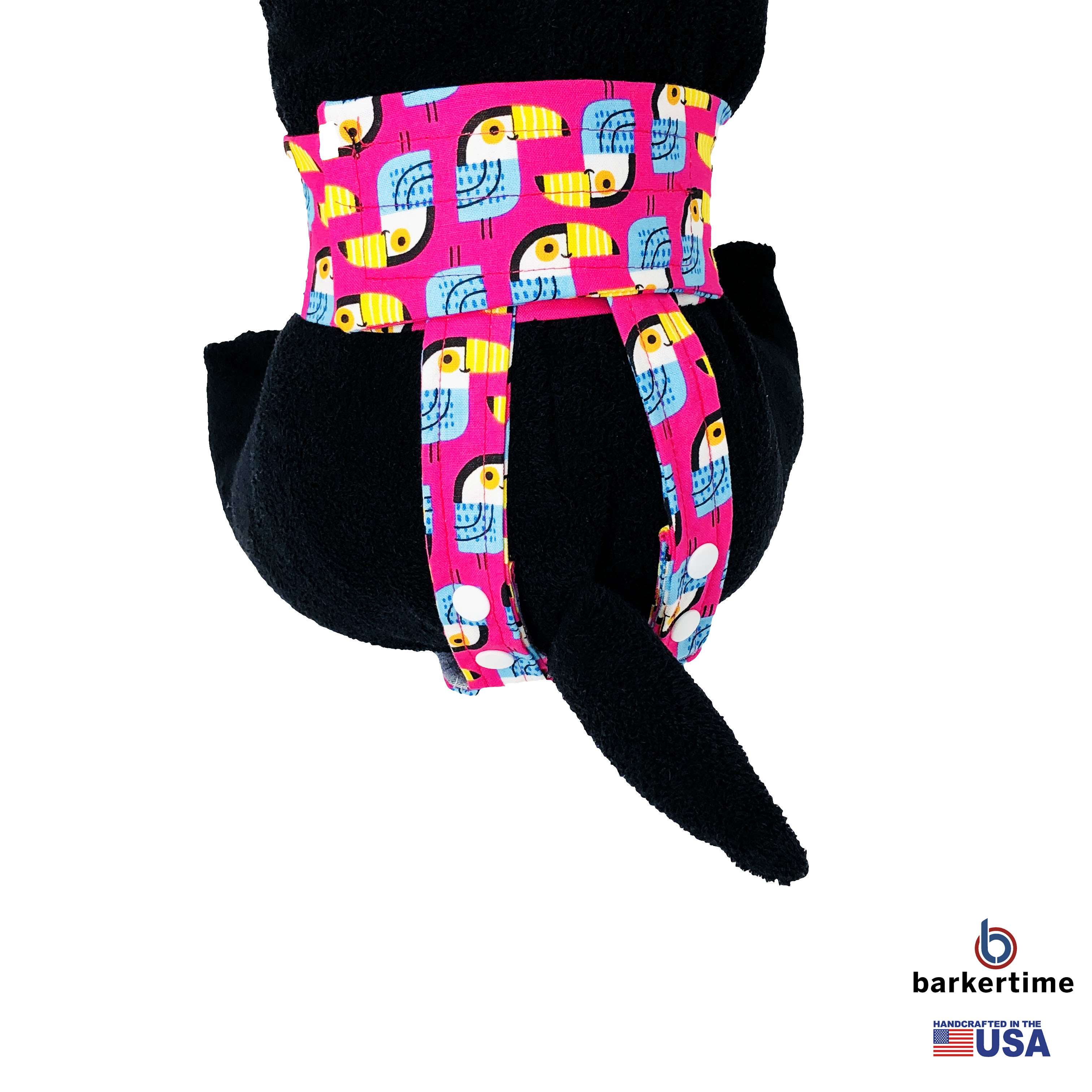 Barkertime Toucan On Pink Washable Dog Diaper Pull Up