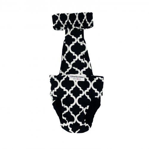 white quatrefoil on black diaper overall - new - back