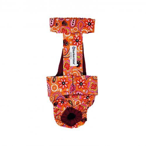 paisley flower on orange diaper overall