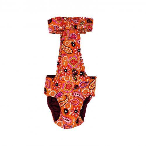 paisley flower on orange diaper overall - back