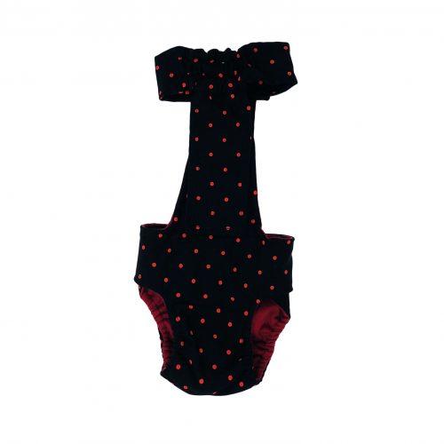 red polka dot on black diaper overall - back