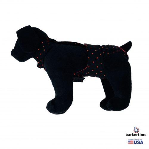 red polka dot on black diaper overall - model 1