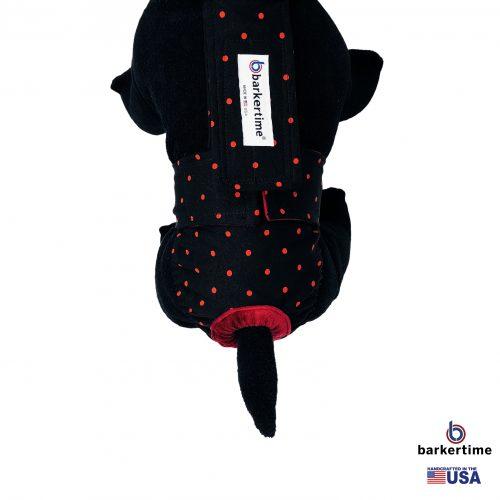 red polka dot on black diaper overall - model 2