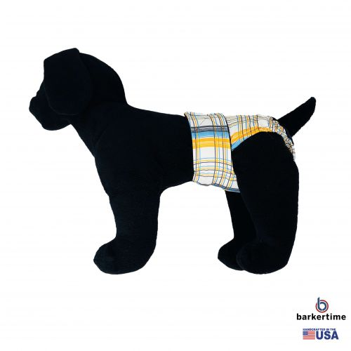 blue and yellow plaid diaper - model 1