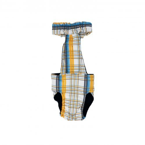 blue and yellow plaid diaper overall - back