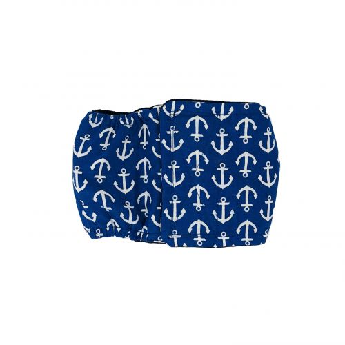 white anchors on blue belly band