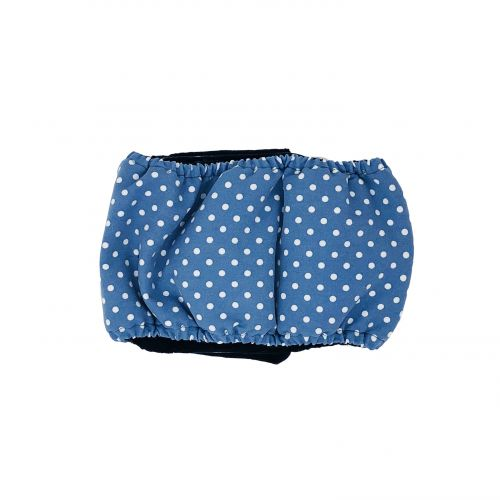 white polka dot on baby blue belly band - back