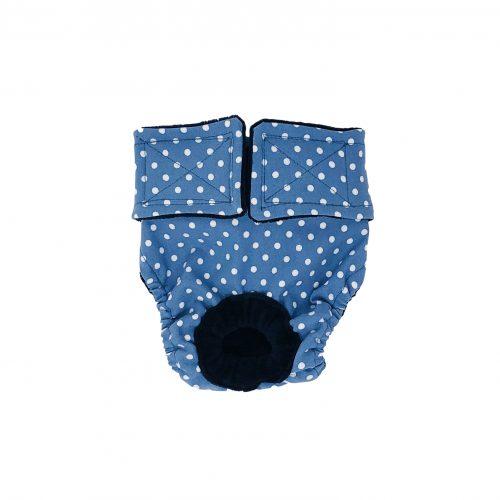 white polka dot on baby blue diaper