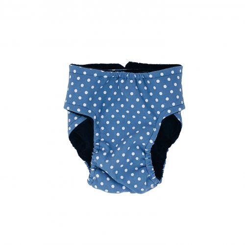 white polka dot on baby blue diaper - back