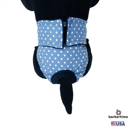 white polka dot on baby blue diaper - model 2
