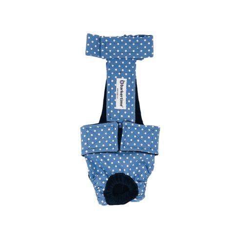 white polka dot on baby blue diaper overall