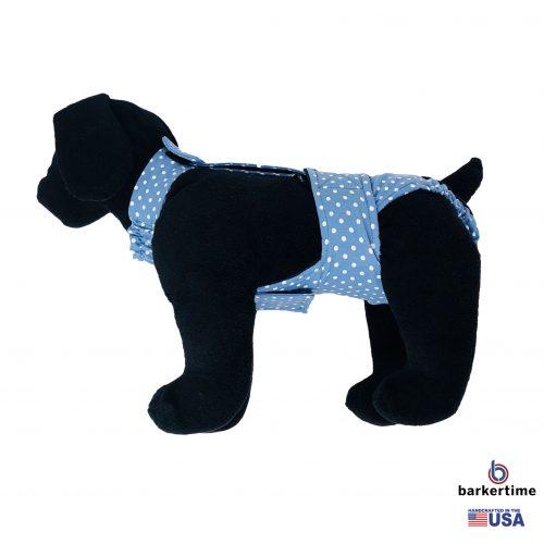white polka dot on baby blue diaper overall - model 1