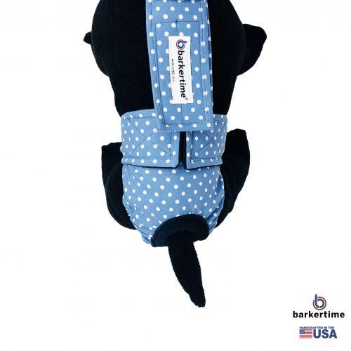 white polka dot on baby blue diaper overall - model 2