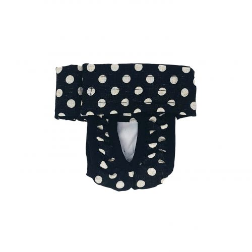 white polka dot on vintage black diaper pull-up