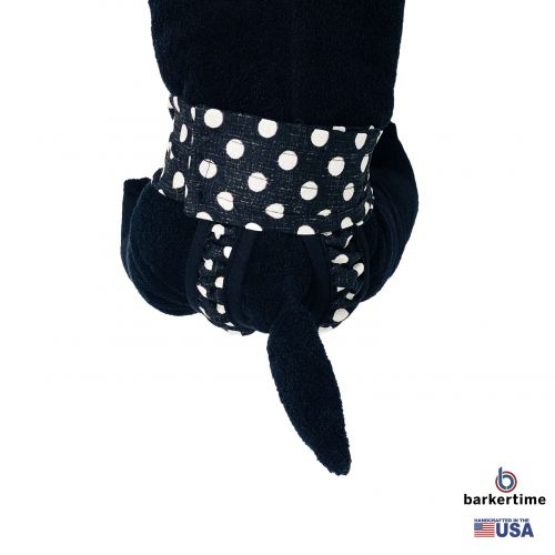 white polka dot on vintage black diaper pull-up - model 2