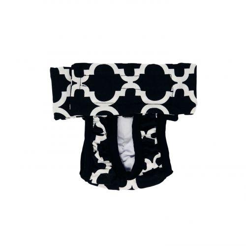 white quatrefoil on black diaper pull-up