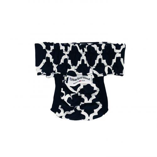 white quatrefoil on black diaper pull-up - back