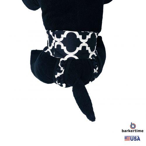 white quatrefoil on black diaper pull-up - model 2