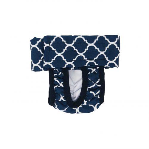 white quatrefoil on blue diaper pull-up