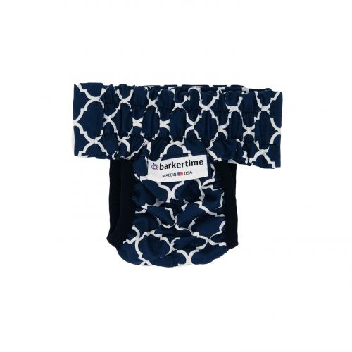 white quatrefoil on blue diaper pull-up - back