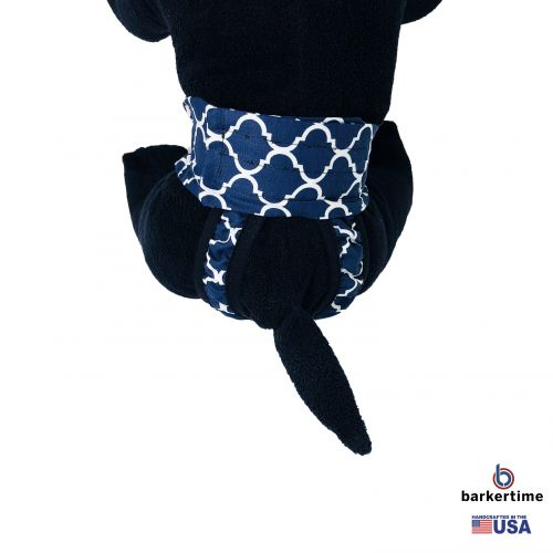 white quatrefoil on blue diaper pull-up - model 2