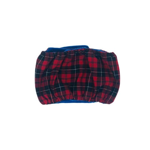 red plaid belly band - back