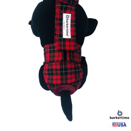 red plaid diaper overall - model 2