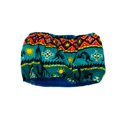 american southwest on blue teal belly band - back