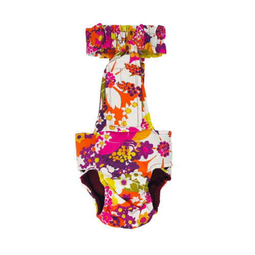 beautiful spring flower diaper overall - back